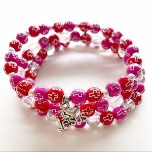 Beaded Bracelet Stack for Women, Christian Jewelry